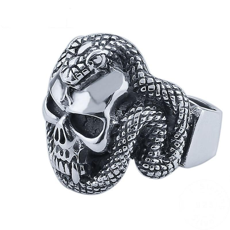 Sterling Silver Snake Skeleton Ring