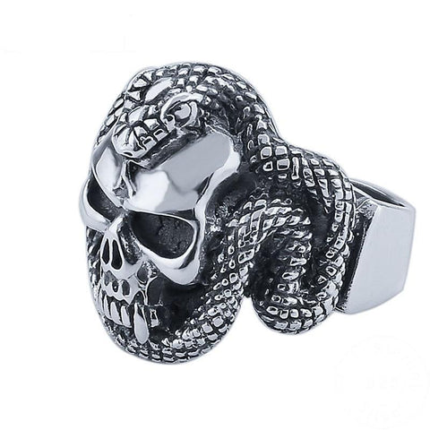 Image of Sterling Silver Snake Skeleton Ring