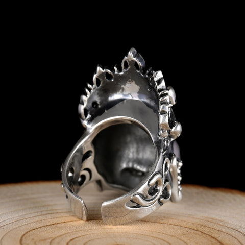 Image of Soild 925 Silver Buddhist Big Ring
