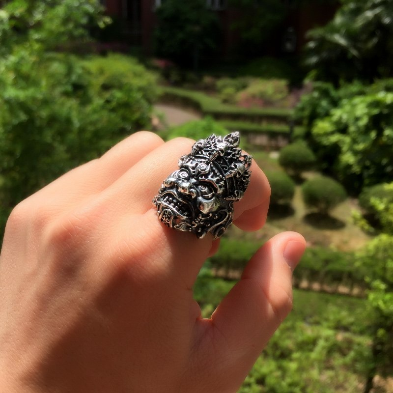 Soild 925 Silver Buddhist Big Ring