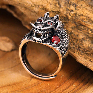 Sterling Silver Thai Dragon Head Ring With Red Stones