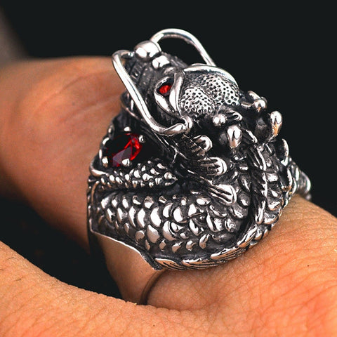 Image of Sterling Silver Thai Dragon Head Ring With Red Stones