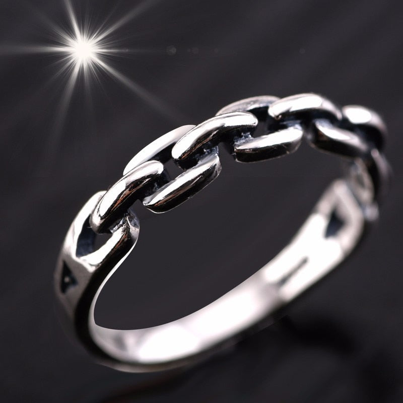 Solid Pure 925 Sterling Silver Chain Link Ring