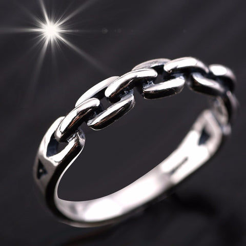 Image of Solid Pure 925 Sterling Silver Chain Link Ring