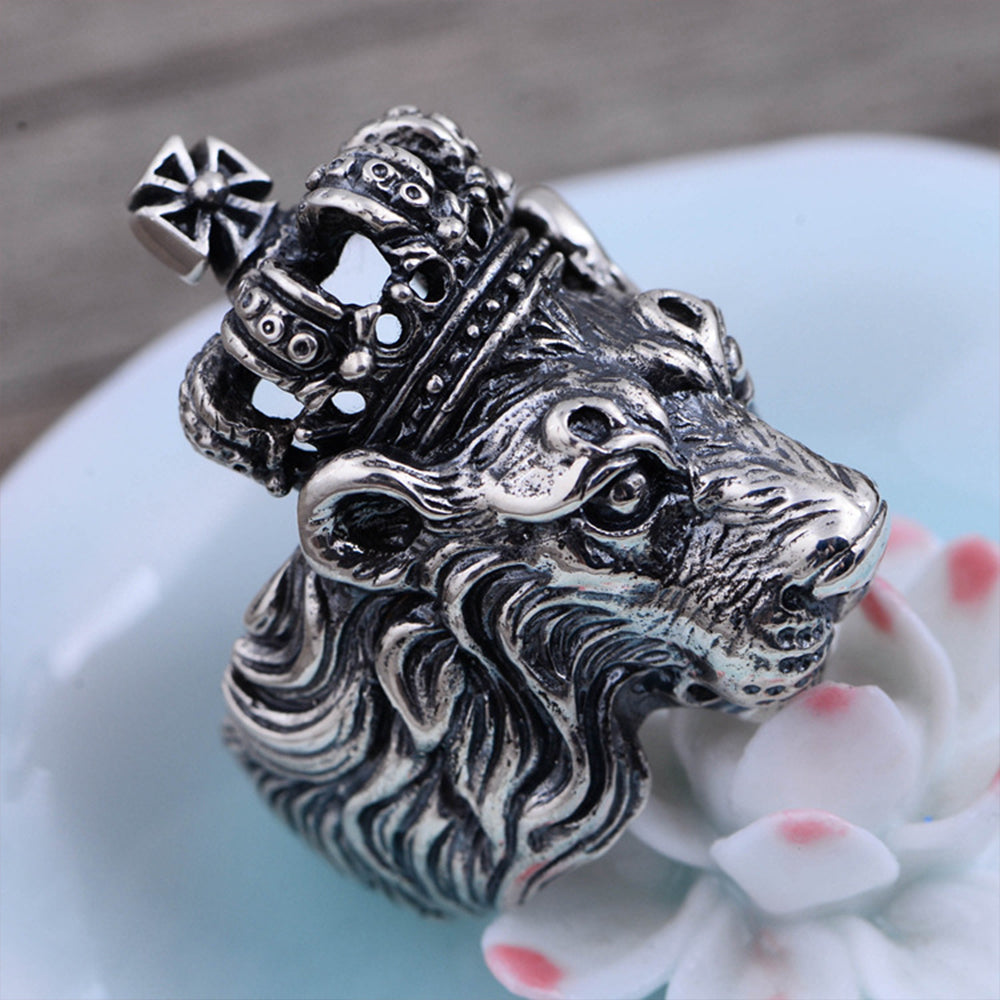 Sterling Silver Crown Lion King Ring
