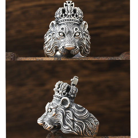 Image of Sterling Silver Crown Lion King Ring