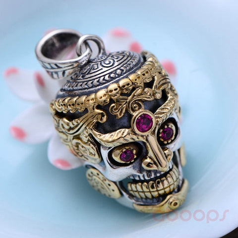 Image of Sterling Silver Skull Head Pendant