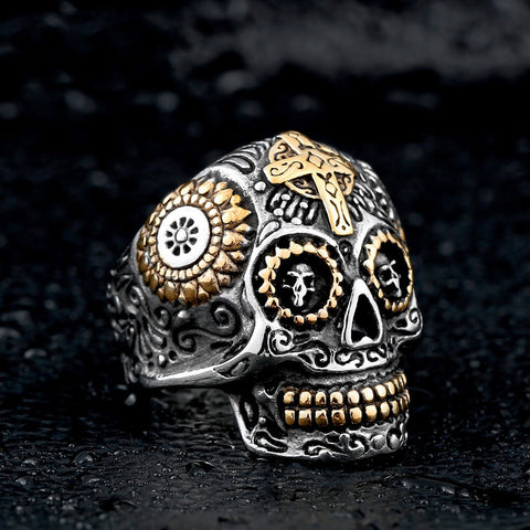 Sterling Silver Sugar Skull Ring and Gold Cross and Details
