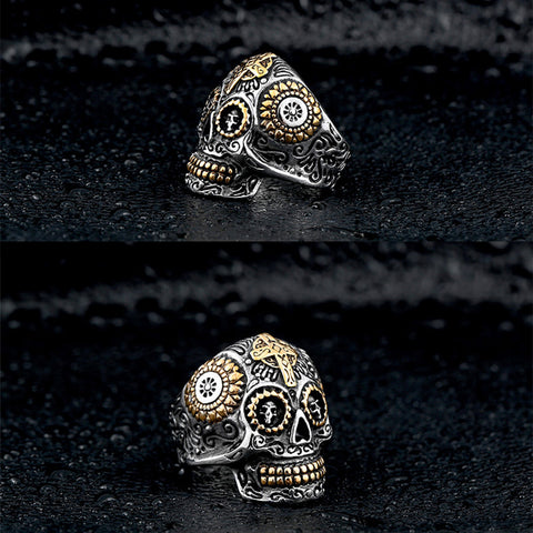 Image of Sterling Silver Sugar Skull Ring and Gold Cross and Details