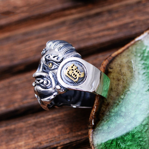 Sterling Silver Buddha and Devil Ring