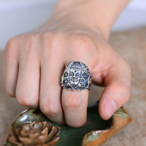 Image of Sterling Silver Buddha and Devil Ring