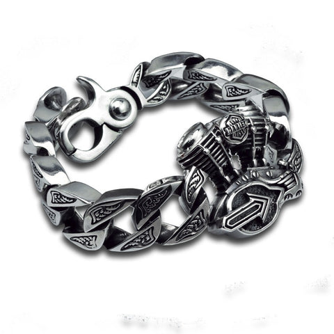 Image of Sterling 925 Silver Heavy Biker Bracelet