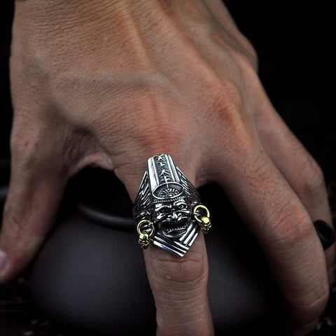 Sterling Silver Heibai Wuchang - Black & White Impermanence Open Ring (1)