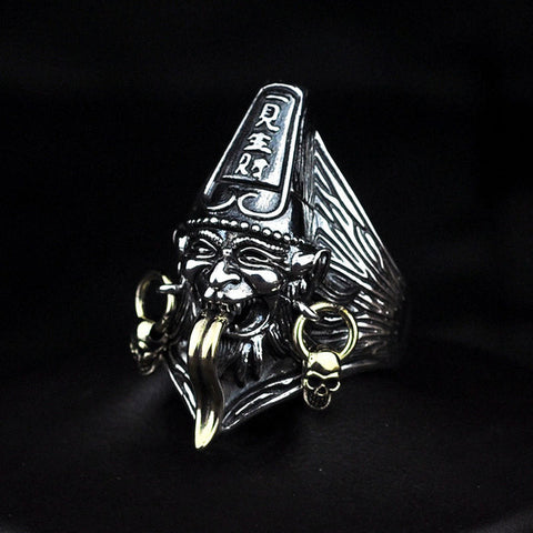 Image of Sterling Silver Heibai Wuchang - Black & White Impermanence Open Ring (2)