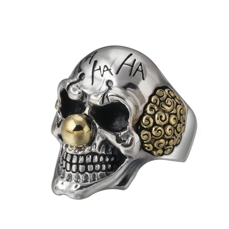 Sterling Silver Clown Skull Open Ring