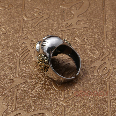 Image of Sterling Silver Clown Skull Open Ring
