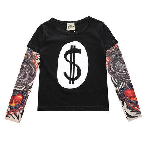 "Image of Cash Money - Children's Tattoo ""Sleeve"" Tee"