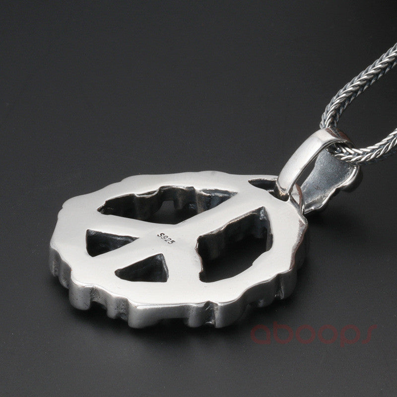 Sterling Silver Peace Sign Pendant with Skulls