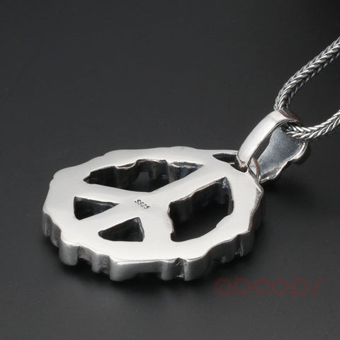 Image of Sterling Silver Peace Sign Pendant with Skulls