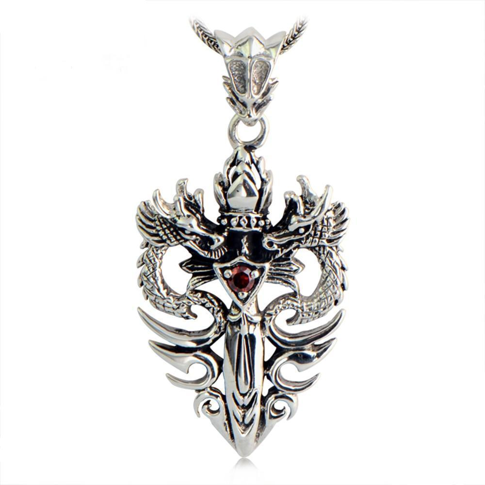 Sterling Silver Double Dragon & Sword Pendant/Necklace  with Ruby