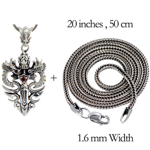 Image of Sterling Silver Double Dragon & Sword Pendant/Necklace  with Ruby