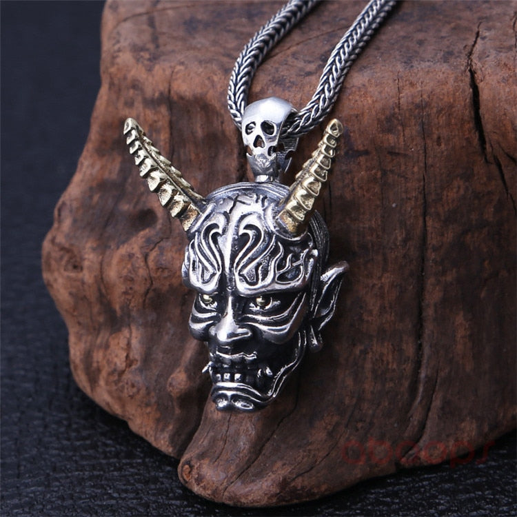 Sterling Silver Japanese Oni Pendant with Golden Horns