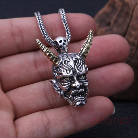 Image of Sterling Silver Japanese Oni Pendant with Golden Horns