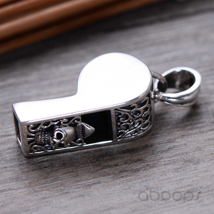 Sterling Silver Functional Carved Skull Whistle Pendant