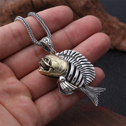 Image of Two Tone Sterling Silver Piranha Pendant
