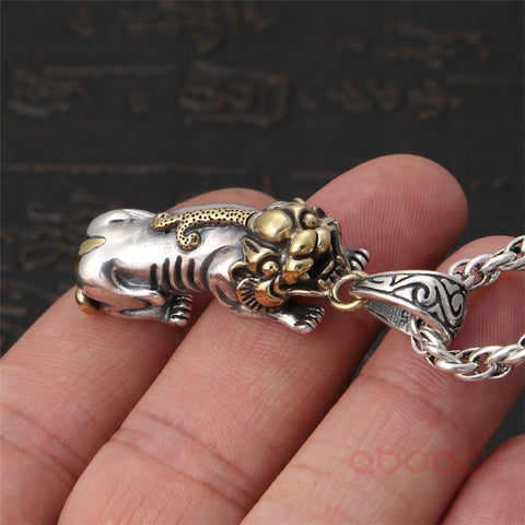 Image of Two Tone Sterling Silver Chinese PIXIU Pendant