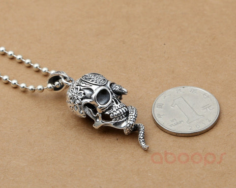 Sterling Silver Skull Head Pendant with Snake