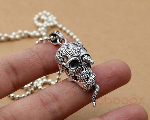 Image of Sterling Silver Skull Head Pendant with Snake