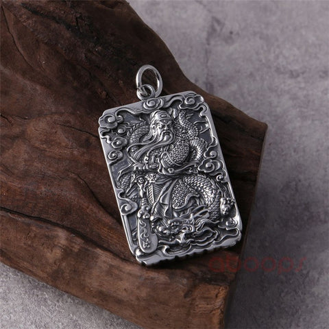 Image of 999 Sterling Silver Chinese Figure GUAN YU Pendant