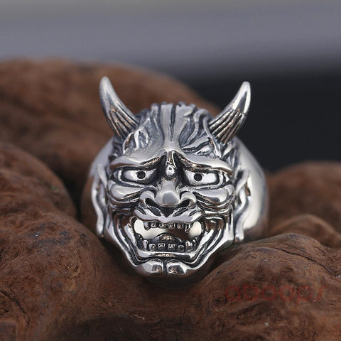 Image of Vintage Sterling Silver Hanya Face Mask Open Ring