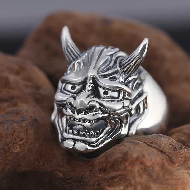 Vintage Sterling Silver Hanya Face Mask Open Ring