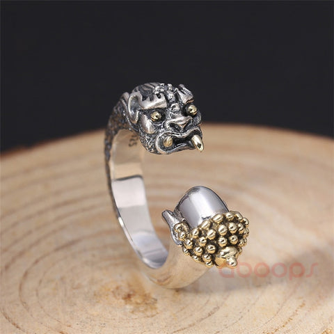 Image of Two Tone 925 Sterling Silver Good Vs Evil - Buddha and The Devil - Ring