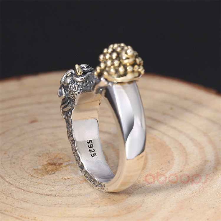 Two Tone 925 Sterling Silver Good Vs Evil - Buddha and The Devil - Ring