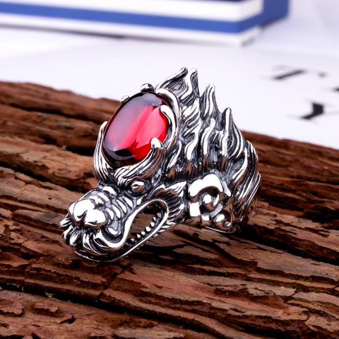 Image of Sterling Silver Dragon Ring with Garnet