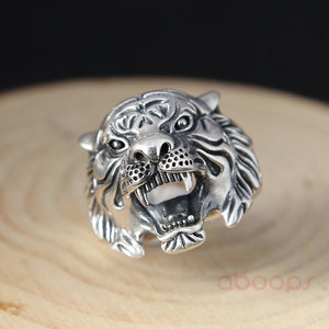 Sterling Silver Tiger Head Ring