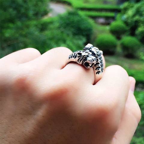 925 Sterling Silver Big Opening Tiger Heads Ring