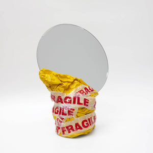 Large Mirror Yellow With 'Fragile' Tape Glossy Finish