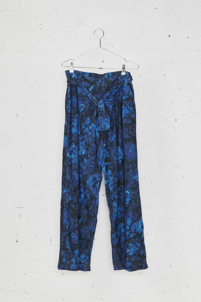 Floral Print Pleated Baggy Trousers