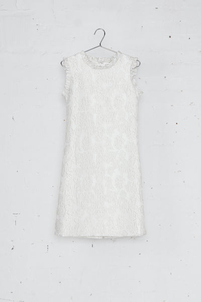 Cream Sleeveless Jacquard Dress