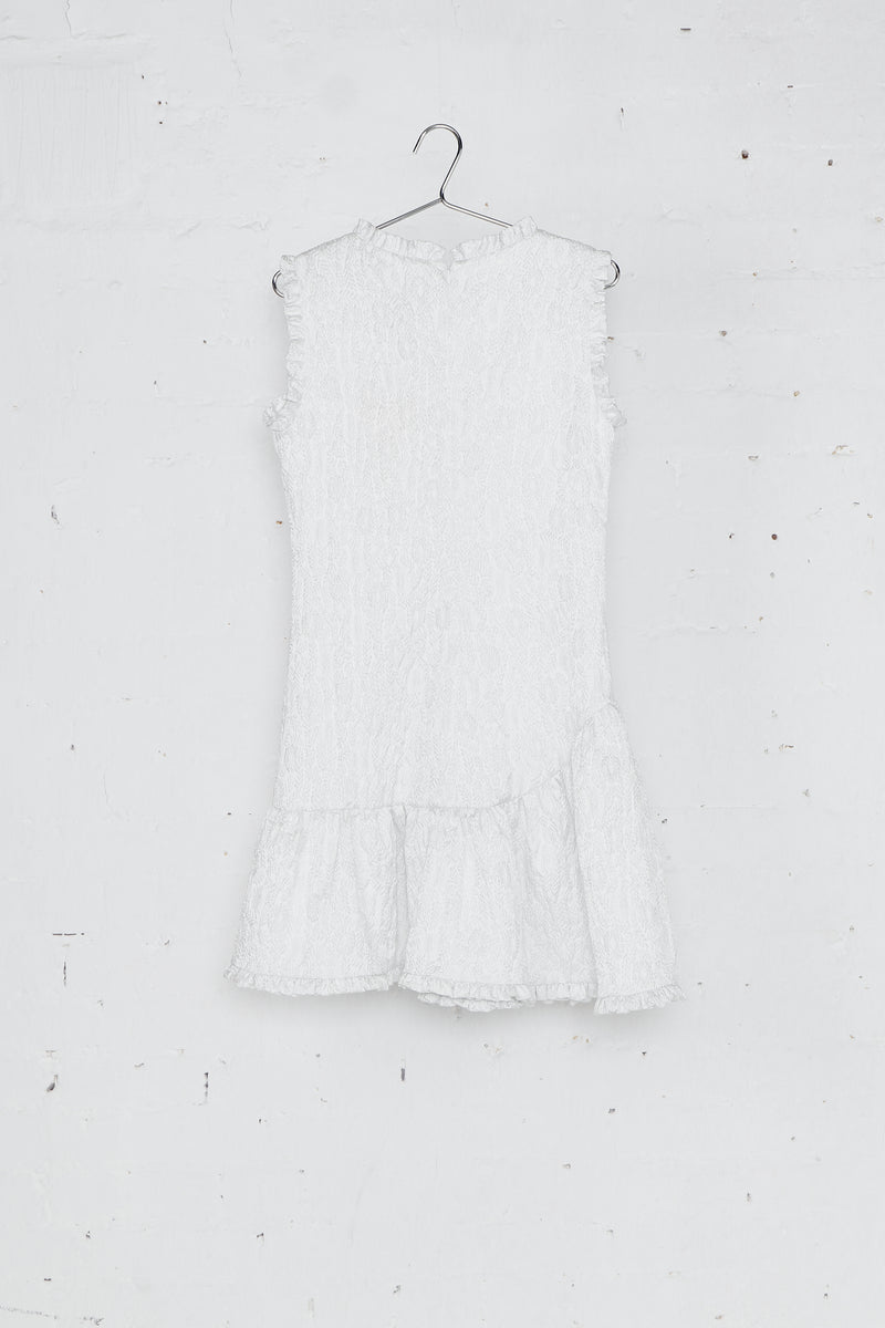 White Sleeveless Jacquard Dress