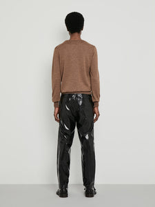Camel Asymmetric Neckline Sweater