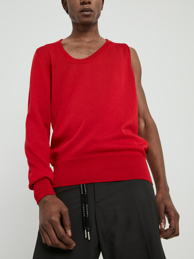 Red One Sleeve Asymmetric Neckline Sweater