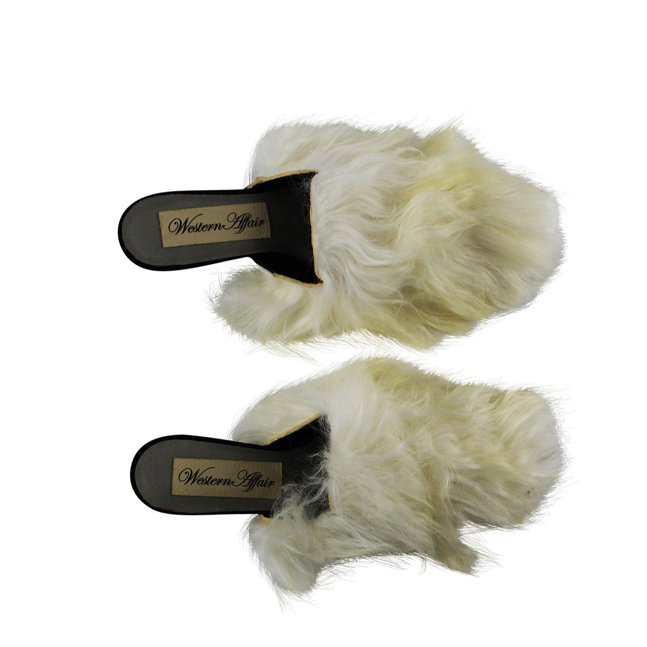 Reworked Sheep Fur Mules In Ivory