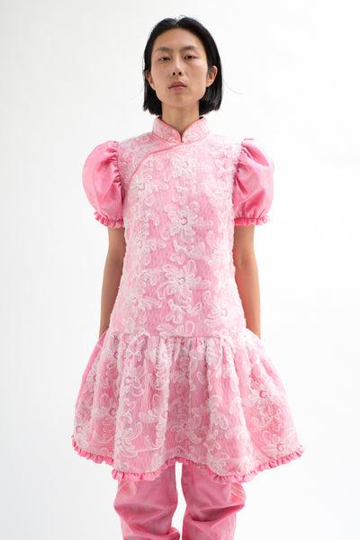 Pink Butterfly Jacquard Chinese Collar Dress