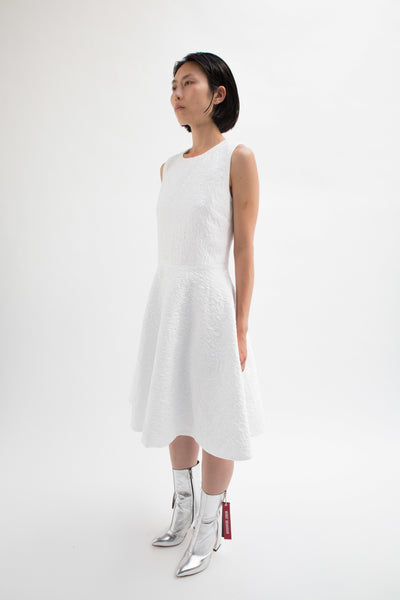 White Sleeveless Embossed Jacquard Dress-50m London