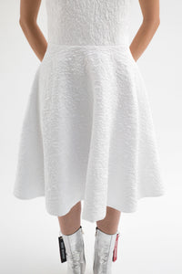 White Sleeveless Embossed Jacquard Dress